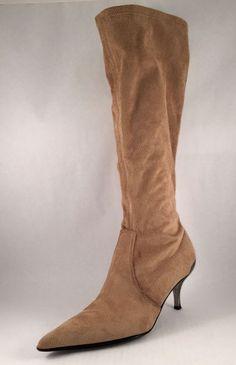 Donald J Pilner Knee High Pointed Toe Metal Heeled Tan Suede Boots #DonaldJPliner #KneeHighBoots #Casual