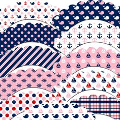Pink and Navy Sailor Girl Cupcake Wrappers by outsidetheboxdessert, $10.00