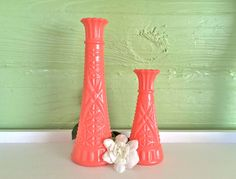 Coral Decor, Coral Home Decor, Coral Vases, Coral Dorm, Coral Decor, Bud Vases, Coral Baby Shower, Gender Reveal by TheBarnett on Etsy https://www.etsy.com/listing/251876151/coral-decor-coral-home-decor-coral-vases