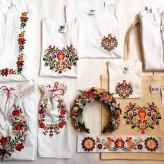 Variants of Slovak embroidery, along with a floral crown. Floral Crown, Folklore, Textures Patterns, Embroidery Patterns, Floral Tops, Oriental, Birthday Parties, Bohemian, African