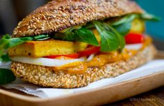 Stacked Tofu Sandwich with Chipotle Sweet Potato-Pumpkin Spread. Fall lunch. #vegan