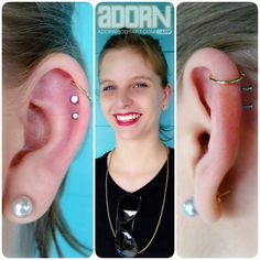 HAPPY BIRTHDAY SONJA!  Brand new piercings and fancy new jewelry make the best birthday presents! Seth (@seththebeard) worked his magic with these classy white opals for her fresh #cartilage piercings and upgraded her healed #helixpiercing to a yellow gold seam ring. Thanks for celebrating your birthday with us Sonja!      Follow us!  AdornBodyArt.com adornbodyart.tumblr.com Facebook.com/adorneast Twitter.com/adornbodyart Instagram:@adornbodyart