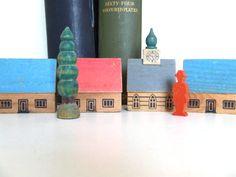 Bookshelf Vintage German Wooden Village with by TheGrandParade, $26.00