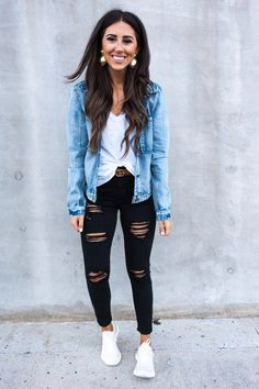 40 Cute Casual Outfits With Denim Jeans for Spring - Bebeautylife Winter Outfits For School, Cute Casual Outfits, School Outfits, Cute Outfits With Nikes, Casual Outfits For Winter, Comfortable Fall Outfits, Cute Travel Outfits, Simple Fall Outfits, Casual Attire