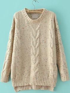Beige Cable Knitting Rib Hem High Low Sweater 25.33 @sheinside.com