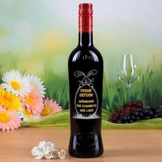 Weinflasche mit Ostermotiv