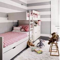Offset bunk beds, grey and white striped walls Bunk Beds With Stairs, Kids Bunk Beds, Girl Room, Girls Bedroom, Bedroom Ideas, Bedroom Decor, Childrens Bedroom, Bed Ideas, Bedroom Lighting