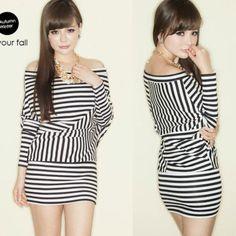 Stretch Batwing Sleeve Hip-wrapped Womens Mini Dress Top Asymmetric Stripes 7073