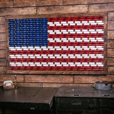 american flag art Nothing shows American pride more than our 12 Gauge American Flag Wall Art. Made from 91 genuine 12 gauge shells in alternating Red, White and Blue colors, expertly American Flag Painting, American Flag Pallet, American Flag Wall Art, American Art, American Flag Crafts, Housewarming Party, Cornhole, Shotgun Shell Crafts, Shotgun Shells