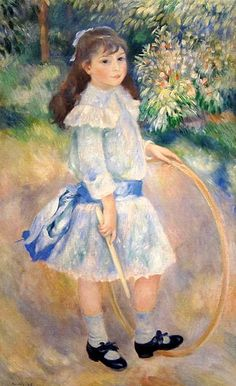 Girl With a Hoop, 1885, impressionist. National Gallery of Art, Washington, D.C. Pierre-Auguste Renoir (1841-1919).