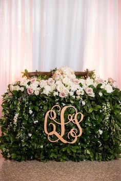 Photo: Justin DeMutiis; Elegant wedding reception bride & groom head table idea;