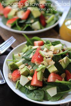 Strawberry Avocado Spinach Salad with Honey Mustard Vinaigrette | www.joyfulhealthyeats.com