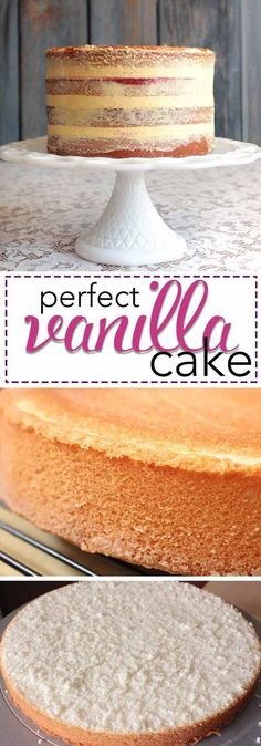 The Perfect Vanilla Cake Recipe. This amazing vanilla cake bakes perfectly every… The perfect vanilla cake recipe. This amazing vanilla cake bakes perfectly every time! Try the recipe that has convinced thousands of bakers around the world! Just Desserts, Delicious Desserts, Dessert Recipes, French Desserts, Holiday Desserts, Food Cakes, Cupcake Cakes, Perfect Vanilla Cake Recipe, Vanilla Cake Recipes