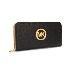Michael Kors Jet Set Ostrich-Embossed Logo Large Black Wallet