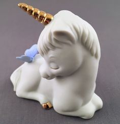 Enesco Vintage Unicorn With Blue Butterfly And Golden Horn And Hoof    eBay