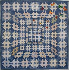 """Shoo, Fly by Pat Nordmark. Honorable Mention, Innovative Pieced, Large category at the 2008 """"Quilts: A World of Beauty"""" Judged Show. Optical Illusion Quilts, Optical Illusions, Art Optical, 3d Quilts, Blue Quilts, Patch Quilt, Quilt Blocks, Churn Dash Quilt, Butterfly Quilt"""