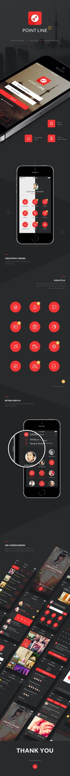 Point Mobile Phone App UI Kit – Flat mobile app design created using Adobe Photoshop CS. You can use this for iPhone or android app project. Inside this mobile ui kit you'll get best app design crafted carefully and pixel perfect PSD's file. Using flat design style, we build this mobile ui kit app well layered, good layer naming and pixel perfect. All icons inside this file using line icon style. Point Mobile Phone App UI Kit includes over 100 flat style PSD screens including menu screens…