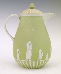 Early 19th Century Wedgwood pale green jasperware coffee pot and coverwith Domestic Employment decoration, 22cm high #wedgwood