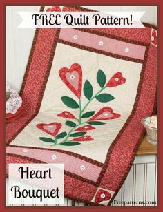 Free Heart Bouquet Quilt Pattern -- Download this free table topper quilting pattern from Freepatterns.com. It makes a great gift!