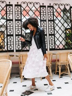 Pair this feminine French Connection dress with a classic leather jacket and some Nike Cortez sneakers for a casual chic look.