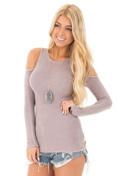 804a9ab06edb8 Lime Lush Boutique - Washed Lavender Ribbed Knit Cold Shoulder Top