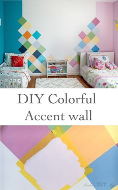 How to create a colorful accent wall for a shared boy girl bedroom