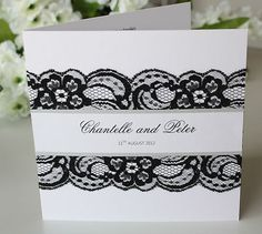 Square Folded Black Lace Wedding Invitation DIY Kit for 20 Invites. My name spelt differently lol.