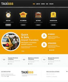 Template 45274 - Yellow and Black Taxi Responsive Joomla Template with Homepage Slider, Blog and Gallery