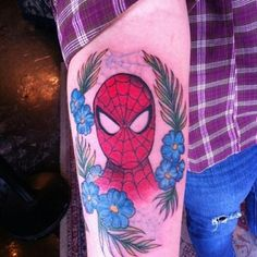 """This is my Spider-man tattoo that I got at Barron Tattoo's in Calgary, AB, Canada! Alexis is an amazing artist and I am so happy that she did this for me. Every time I look down I think of my little sister"" New Tattoos, Tattoos For Guys, Cool Tattoos, Awesome Tattoos, Spiderman Tattoo, Tattoo Designs, Tattoo Ideas, Body Mods, Little Sisters"