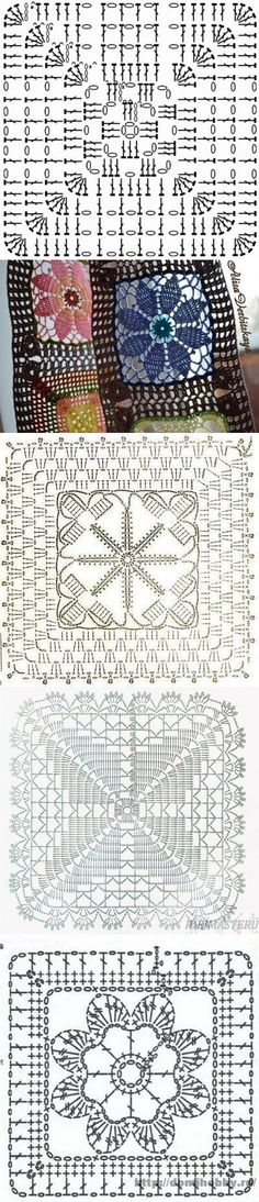 (61) Одноклассники Crochet Motif Patterns, Granny Square Crochet Pattern, Crochet Blocks, Crochet Diagram, Crochet Chart, Crochet Squares, Crochet Granny, Filet Crochet, Crochet Doilies