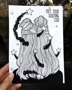 "1,265 Likes, 26 Comments - artist.  (@dinasaurus.art) on Instagram: ""Inktober 5/31 ⭐️ ""free your shooting star"" ⭐️ for todays drawing i went outside to take a photo…"""