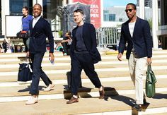 Tommy Ton's Street Style: New York Fashion Week Spring 2013: Style: GQ  Navy blazers, trousers and tshirts