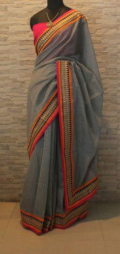 Grey #Saree With Pink & Orange Lined Border.