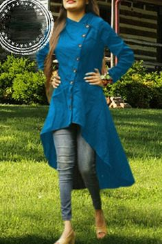 *Tamanna 'Y' Colar Kurti* Fabric : Slub Cotton Full Stitched Readymade Size : XXL Neckline : V neck Sleeves : thSleeves plus shipping Sleeves Designs For Dresses, Dress Neck Designs, Stylish Dress Designs, Stylish Dresses, Blouse Designs, Churidhar Designs, Silk Kurti Designs, Salwar Designs, Kurta Designs Women