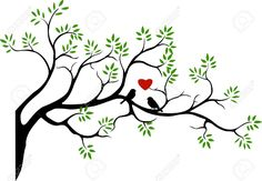 Tree Silhouette With Bird Love Couple Royalty Free Cliparts ...