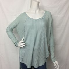 Free People- Teal Long Sleeve Thermal Top OB426980 - Suburban Casuals