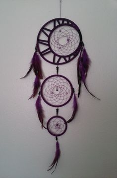 Elaborate 3 ring dreamcatcher with crescent moon - Customize on Etsy. www.etsy.com/shop/customcatchers $ 18.00