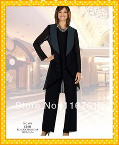 2014 Plus Size Mother Of The Bride Pant Suits With Jacket Sexy Black Chiffon Long Sleeve Three Piece Prom Mother Dress Gown 2014