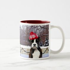 Christmas Boxer Puupy Two-Tone Coffee Mug - tap to personalize and get yours #TwoToneCoffeeMug #boxer #coffee #mug #christmas #navidad