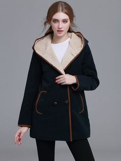 Shop Navy Contrast Trim Sherpa Hooded Coat online. SheIn offers Navy Contrast Trim Sherpa Hooded Coat & more to fit your fashionable needs.