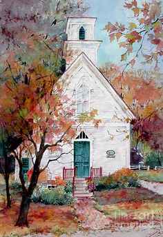 Church Painting - Welcome Church by Sherri Crabtree