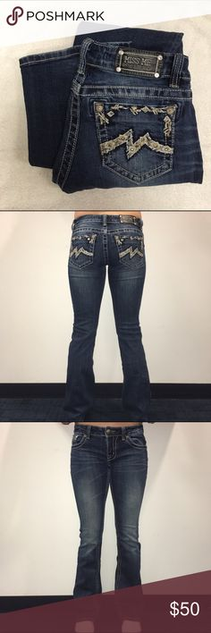 Miss me boot cut dark wash jeans -My friend is 5'8 and these jeans go a little past her ankles  -size 27 in the waist -bootcut  -still in good condition, 3 years old Miss Me Jeans Boot Cut