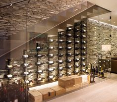 denver Display Case with unfinished wine glass racks cellar contemporary and stone wall cladding under staircase Glass Wine Cellar, Home Wine Cellars, Wine Cellar Design, Wine Glass, Under Stairs Wine Cellar, Wine Cellar Basement, Home Stairs Design, Home Interior Design, Wine Display