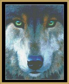 """The Many Faces Collection - Wolf Face"" by Mystic Stitch"