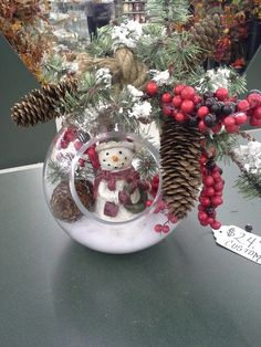Primitive theme snowman in large glass globe with snow