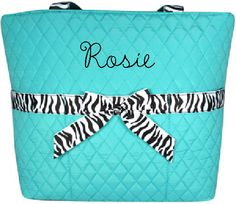 $15.90 Turquoise Quilted Diaper Bag With Zebra Trim (Shown with Optional Personalization)
