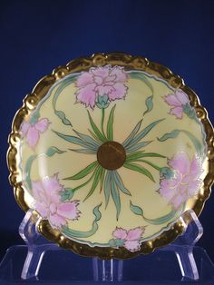 "Limoges Mark 4 Stouffer Studios ""Pink Carnations"" Design Bowl (Signed ""Arlt.""/c.1905-1906)"