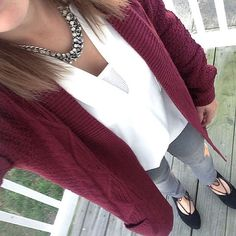 Burgundy cardigan outfit