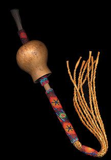 Gourd Rattles are used in Native American Church peyote meetings and prayer and healing circles. Nicholas produces both traditional style beaded gourd (peyote) rattles, and deer rawhide rattles. http://www.nicholaswood.net