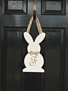 Easter Bunny Silhouette Wooden Door Hanger by AJsSouthernDesigns
